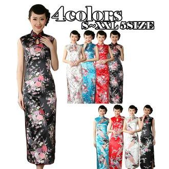 長旗袍絲綢混合舞會禮服長衣的中國服裝中國服裝無袖孔雀圖案花長 cosplay 服裝性感中國服飾 1005年