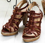 Leather Gladiator Sandals thick bottom ストームヒール in total comfort! TODAYS ★ TODAYS ★ 7557fs3gm