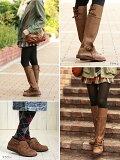 2wayくしゅくしゅフィットロングブーツ【筒幅34cm】足が細く見えるジョッキーブーツ!ブーツカバーを外すとカジュアルシューズに大変身♪★MOMM4ベルオリジナル【CSF】【TAF】
