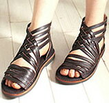 Leather Gladiator sandal crossing the mesh design ♪ flat comfort ★ 1221 * no refunds / Exchange round-trip postage customers bear fs3gm
