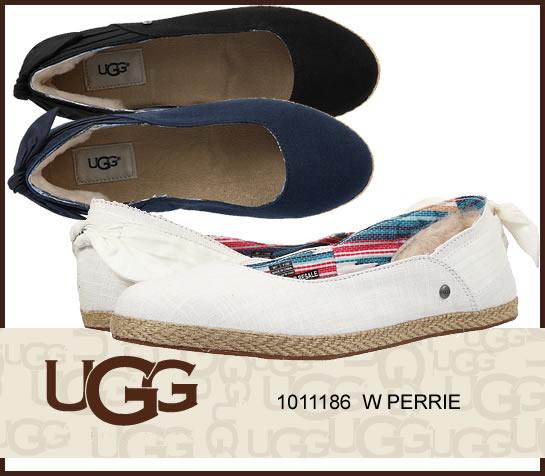 UGG W PERRIE ペリー 1011186 /正規品取扱店舗/スリッポン フラットシューズ ムートン シープスキン ジュート s so1