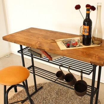 ケルトカウンターセット送料無料【天然木パイン無垢材とアイアン素材を使用したカウンターですオイル仕上げでヴィンテージ古木風の仕上がり】