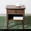 【送料無料】 ナイトテーブル ウォールナット色 ベッドサイドテーブル