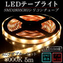 LEDテープ シリコンチューブ ACアダプター付属 SMD2835(30)2芯電球色(3000K)5m 間接照明 カウンタ照明 棚下照明 ショーケース に最適 ...
