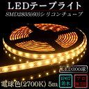 LEDテープ 防水 野外使用可能 シリコンチューブ SMD2835(60)電球色(2700K)5m ※点灯するには別途ACアダプターが必要です 間接照明 カウンタ照明 棚下照明 に最適 LEDテープライト