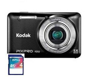 11/30までポイント2倍・今ならSDHCカード4GB差し上げます【送料無料】Kodak・コダック 光学5倍防塵タイプ充電式デジタルカメラ FZ52 ブラック【楽ギフ_包装】【***特別価格***】
