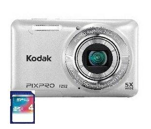 11/30までポイント2倍・今ならSDHCカード4GB差し上げます【送料無料】Kodak・コダック 光学5倍防塵タイプ充電式デジタルカメラ FZ52 シルバー【楽ギフ_包装】【***特別価格***】
