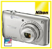 今ならSDHCカード8GB付き【送料無料】Nikon・ニコン デジカメ Wi-Fi内蔵光学8倍ズーム クールピクス COOLPIX A300 SL シルバー【楽ギフ_包装】【***特別価格***】
