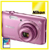 今ならSDHCカード8GB付き【送料無料】Nikon・ニコン デジカメ Wi-Fi内蔵光学8倍ズーム クールピクス COOLPIX A300 PK ピンク【楽ギフ_包装】【***特別価格***】