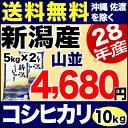 新米 28年産 山並 新潟県産 コシヒカリ 10kg(5kg×2袋) こしひかり【送料無料】(沖縄・佐渡を除く)