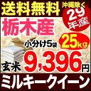 栃木県産ミルキークイーン 25kg 玄米 29年産 米 【送料無料】(沖縄を除く)