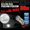 LED フォグランプ用 LEDバルブ H8/H11/H16/ 80W 16連 ホワイト 2個セット【LED/フォグ/LEDバルブ/80W/エルイーディー/フォグランプ/フ…