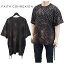 フェイス コネクション FAITH CONNEXION Tシャツ 半袖 オーバーサイズ スタースタッズ M3723J00T28-BLACK ブラック