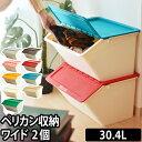収納ボックス 収納ケース ペリカン ワイド pelican wide 30.4L 2個セット stacksto(スタックストー) フタ付き おもちゃ 収納 おもちゃ箱 ゴミ箱 ふた付き 分別