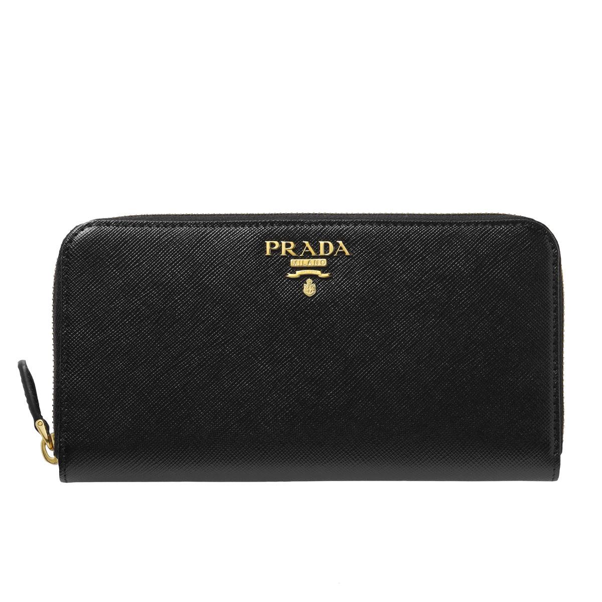 プラダ PRADA 財布 レディース 1ML506 QWA F0002 ラウンドファスナー長財布 SAFFIANO METAL NERO ブラック