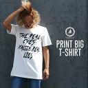 ロゴT ビッグシルエット クルーネック 半袖 コットン オーバーサイズ ビッグシルエット ゆったり 白 メンズファッション カジュアル ストリート トップス プリントTシャツ Tシャツ カットソー メンズ 小さいサイズ おしゃれ