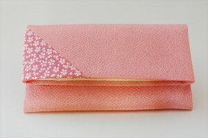 【ちりめん桜小紋数珠袋ピンク】