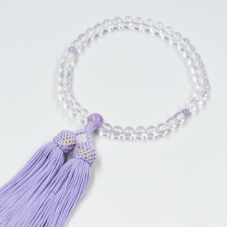 Women's crystal rosary 7 mm jade rattan 雲石 (とううんせき) 3 with mauve silk head tuft