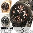 嬉しい保証付き腕時計 生活防水 日本製ムーブメント ビッグフェイス ステンレスベルト メンズ クオーツ ゴールド シルバー ブラック SRF13 SORRISO ソリッソ