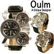 【全2色】【Oulm】日本製ムーブメント/腕時計/ビッグフェイス/デュアルタイムス/ダブルタイムス/クオーツ/ブラウン/ブラック/コンパス/温度計Oulm1167