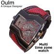 【Oulm】日本製ムーブメント/腕時計/ビッグフェイス/フルステンレスボディー/デュアルタイムゾーン/クオーツ/レッド/パイソン/ヘビ柄