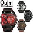 【Oulm】日本製ムーブメント/腕時計/ビッグフェイス/フルステンレスボディー/デュアルタイムゾーン/クオーツ/ブラック