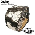 【Oulm】日本製ムーブメント/腕時計/ビッグフェイス/フルステンレスボディー/デュアルタイムゾーン/クオーツ/ホワイト