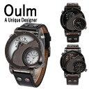 ショッピングJapan Oulm 日本製ムーブメント 腕時計 ビッグフェイス デュアルタイムス ダブルタイムス クオーツ ブラウン ブラック シンセティックレザー ワールドタイム 世界時計 メイドインジャパン ムーブメント