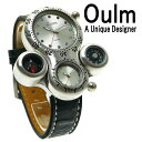 ショッピングJapan Oulm 日本製ムーブメント 腕時計 ビッグフェイス フルステンレス ステンレス デュアルタイム ダブルタイム タイムゾーン クオーツ メイドインジャパン ムーブメント 世界時計 オウルム