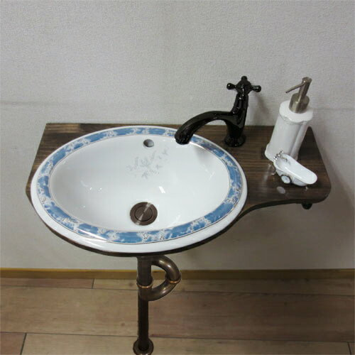 【Eセット45】柄付き陶器ボウルが選べる化粧台セット(単水栓) ローズウッド TT043J-1401-0403-0302-0602