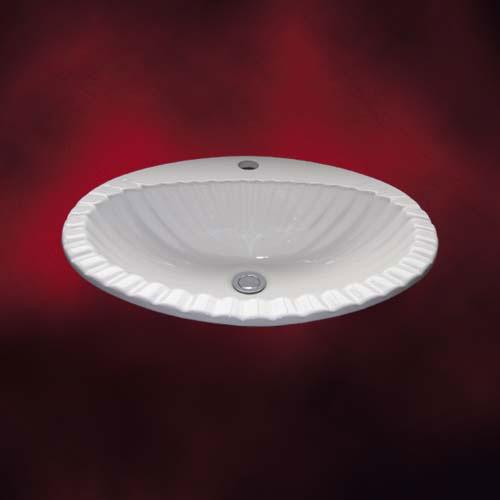 陶器洗面ボウル(手洗い鉢・陶器洗面ボール・洗面台・埋込)W580×455×H205 INK-0401008H シンプルな白でどんな場所にも合う洗面ボウルですフォーマル