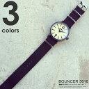 腕時計 メンズ ミリタリーウォッチ バウンサー BOUNCER ビジネス カジュアル アナログ腕時計 ケース付き ブラック 黒 ビンテージ風 アンティーク