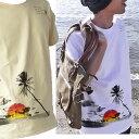 ハワイ Tシャツ メンズ 夕陽 サーフ