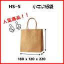 紙袋 手提げ紙袋 HS−5 茶無地 小さい紙袋 1セット50枚 180x120x220【 ペーパーバッグ 無地 手提げ袋 手提げ紙袋 業務用 】