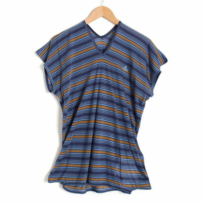 ヴィヴィアンウエストウッドマン カットソー 半袖 Vivienne Westwood MAN 紺×茶 vwgt81898-344 メンズ