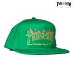 【THRASHER】FLAME LOGO STRUCTURED SNAPBACK カラー:green 【スラッシャー】【スケートボード】【帽子/キャップ】