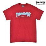 【THRASHER】OUTLINED SKATE MAG tee カラー:cardinal 【スラッシャー】【スケートボード】【ティーシャツ/半袖】