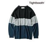 【TBPR/TIGHTBOOTH】BORDER KNIT SWEATER カラー:black 【タイトブース】【スケートボード】【ニット/セーター】