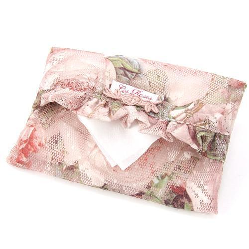 【ポケットティッシュケース】【薔薇雑貨】ポケットティッシュケース ルドゥーテ レーシーローズ