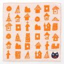 【ハロウィン】【飾り】ハロウィン タオルハンカチ オブチアキコ 街並みとハロウィン 黒猫