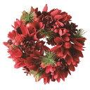 【フラワーリース】【飾り】リース グリッター レッドreath-Glitter Red Wood Flower S