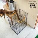 【インターフォルム公式】 Roberto Works ロベルトワークス ワイヤーバスケット   バスケット おしゃれ お洒落 かわいい インテリア 収納 収納ボックス インダストリアル ヴィンテージ シンプル カジュアル レトロ ナチュラル モノトーン リビング 寝室 一人暮らし レザー