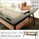 ガラスリビングテーブル [幅90× 奥行55× 高さ38cm] 送料無料