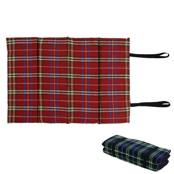 レジャークッションタータンチェックおでかけ座布団(折りたたみ携帯用マットアウトドア)5000円以上送