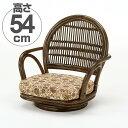 籐(ラタン) 回転座椅子 ロータイプ 【S881B】 送料無料 【5000円以上送料無料】