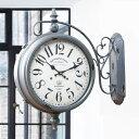 掛け時計 ウォールクロック アンティーク 両面 グレー 幅52cm ( 送料無料 壁掛け時計 時計 インテリア 両面時計 ダブルフェイス 駅 外国 雑貨 壁掛時計 掛時計 とけい アナログ 壁 )【5000円以上送料無料】