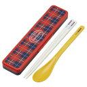 【ポイント最大26倍】赤いタータンチェック柄の、お箸とスプーンのコンビセット