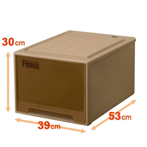 収納ケース Fits フィッツケースクローゼット L−53 ブラウン シール付 ( 収納ボックス 引き出し 衣装ケース 衣類収納 プラスチック チェスト クローゼット 収納 fitsケース 引出し スタッキング キャスター取付可 丈夫 ) 【5000円以上送料無料】