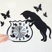 ウォールクロックステッカー ウォールステッカー 時計 猫 フィッシュボール Wall Clock Sticker ( ウォールクロック キャット ステッカー シール デコレーション ウォールデコ 壁デコ モノトーン おしゃれ シンプル 蝶 金魚 )【5000円以上送料無料】