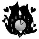 ウォールクロックステッカー ウォールステッカー 時計 猫 カップル Wall Clock Stick